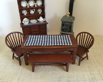 NEW Long Dining Or Kitchen Table In Mahogany With Two Chairs And Benches Choice