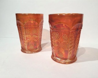 Fenton Butterfly & Berry Carnival Glass Tumblers Set of 2 Marigold Carnival Glass