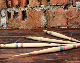 Wooden Spindles - Antique Wool Spindles Set of 4 - Primitive Bulgarian Spindles - Wool Spinning - Farmhouse Rustic Decor - Wedding Decor