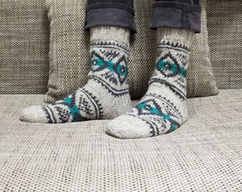 Hand knit wool socks with Nordic patterns, wool socks, scandinavian socks, Nordic socks, boot socks, knit wool socks, men women wool socks