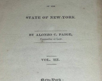 Rare 1833 Reports of Cases Court of of the Chancery New York Vol. III Paige Hardback