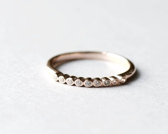 14k Rose Gold Plated Bezel Ring, Engagement Ring, 925 Sterling Silver, Minimalist Ring, Dainty Ring, Rose Gold Ring, Rose and Choc