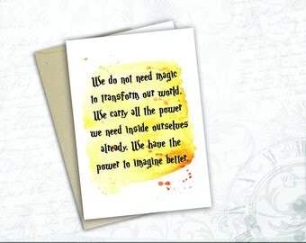 of course it is happening inside your head Harry potter  quote JK Rowling magic gift book lover printable poster quotes greeting card