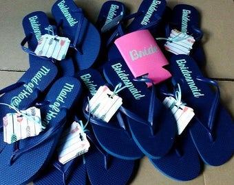 Navy Blue Bridal party flip flops
