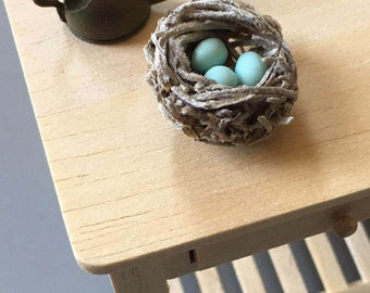 Miniature Bird's Nest, Robin's Nest, Dollhouse Accessory