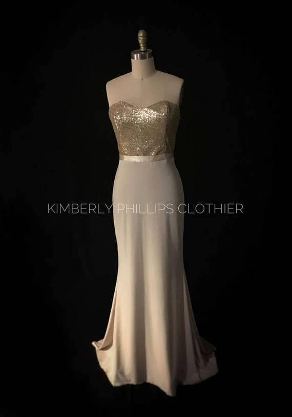 Reserved-Octavia BM- Champagne and Gold Fitted Mermaid, Bridesmaid Dress, Prom Dress
