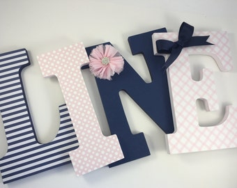 Navy and pink girls nursery letters