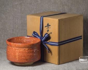 Chawan matcha bowl for Japanese tea ceremony with original Tomobako box - vintage handmade *0660