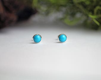 6mm turquoise stud earrings - Turquoise stud earrings - Sleeping Beauty  earrings - 6mm dot earrings