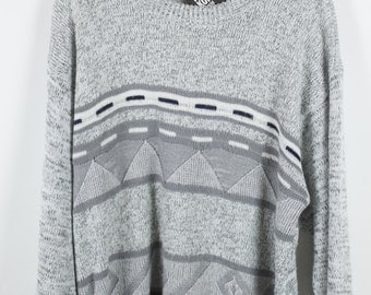 Vintage Sweater, Vintage Knit Pullover, grey, 80s, 90s, oversized look