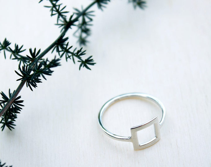 Sterling silver ring, silver jewelry, minimalist ring, boho jewelry, square ring, geometric ring, gift for women, womens gift, birthday gift