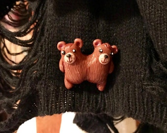 Conjoined bears small brooch/ magnet / miniature/ creepy cute/ oddity.