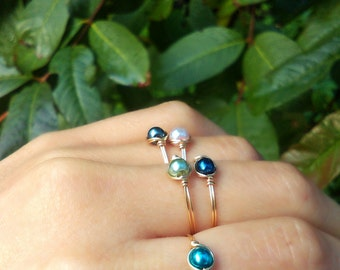 Choose Color faux pearl Glass Dainty glass Gem small Gold Wire Ring green pink purple black blue