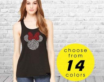 Minnie Head Ladies Flowy Racerback Tank Top Matching Couples Shirts | Disney Couple Shirts | Disney Family Shirts | Matching Disney Shirts