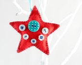 Funky felt decoration - tree ornament - christmas decoration - festive star - hanging decoration