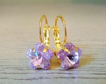 Light Purple earrings, Flower Dangle Earrings, Swarovski Crystal, Spring earrings, Mother's Day gift, flower jewelry, violet earrings