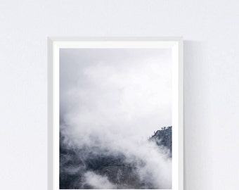 Mountain print, wall art, mountain art, printable art, mountains print, scandinavian art, mountain poster, woodlands, mountain photo #CN11