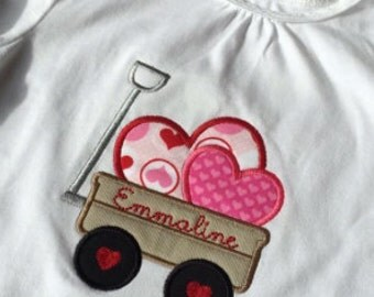 Girls Applique Valentines Shirt