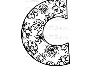 Letter C Alphabet Flowers SVG / JPEG / PNG /pdf / use with Silhouette Studio and Cricut Design Space - Commercial Use - Adult Coloring Page
