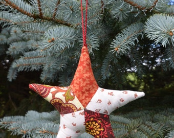 Patchwork star ornament, cloth star, Christmas tree ornament