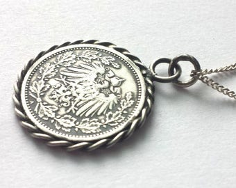 Silver German Coin Pendant on soldered rings and silver chain, 1/2 Mark 1905