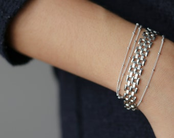 Delicate Silver Bracelet - Silver Stacking Bracelets - Silver Mesh Bracelet - Minimalist Jewelry - Chain Link Bracelet - Gift for Her