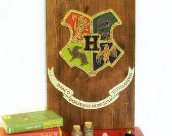 Harry Potter Hogwarts Crest String Art Sign, Wall Art Decor