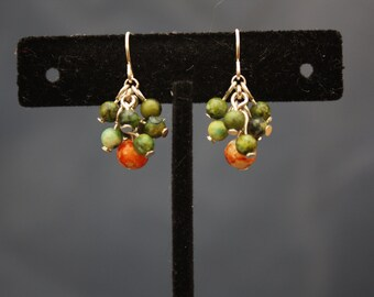 up-cycled silver tone green and orange bead cluster earrings