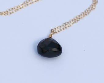 Black Onyx Necklace, Black Onyx Pendant, 14K Gold Filled, Sterling Silver, 14K Rose Gold