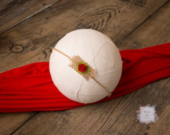 Red Tieback, Red Baby Headband, Newborn Photo Prop
