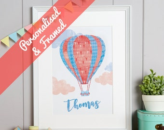 Hot-Air Balloon Personalised Print, Framed Name Print, Baptism Gift, Nursery Framed Print, Framed Baby Art, Nursery Picture, FREE SHIPPING