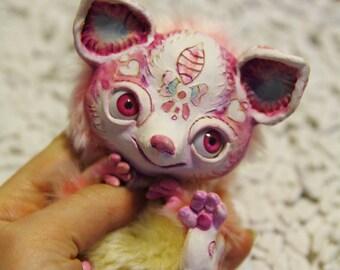 """Made ti order! Fox a-Lisa – cute Artdoll, 4"""", OOAK, natural clay artdoll"""