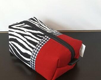 Zebra Makeup Bag - Red Makeup Bag - Make up Bag - Cosmetic Bag - Makeup Organizer - Makeup Storage - Makeup Case - Toiletry Bag - Gift