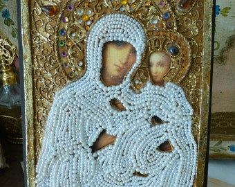 Mother & Child Embellished Russian Religious Icon Pearls Jewels Pretty