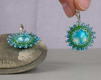 Blue earrings, green hanging earrings, Bridal jewelry, wedding, Bohemian, light turquoise, silver, white, pastel, earrings, tribal, boho, hippie style
