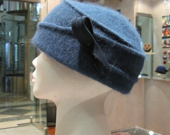Winter hat/ Angora hat/ Women's warm hat/ Blue hat