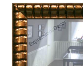 Custom Ribbed Bronze Wall Mirror - Flat Glass - FREE SHIPPING