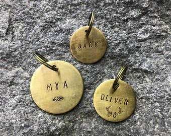 Brass Personalized Pet ID Tag / Custom Made, Pet Gift, Pet Accessories /  Dog / Cat Tag / Name Tag / Phone/ Birthday / Metal /dog collar