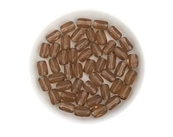 50 Smoke Brown Oval Bead, 4x7 Tube Bead, Barrel Bead, Square Bead, Czech Glass Bead, Pressed Bead, Wholesale, 2085E