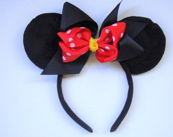 Minnie Mouse Ears- Minnie Mouse Bow, Red Minnie Ears, Disney Ears, Polka Dot Mouse Ears.