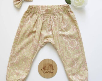 Paisley Harem Pants Size 0, Girls Harem Pants, Toddler Harem Pants, Girls Cotton Pants, Baby Girls Harem Pants