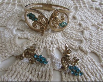 Vintage Parure/Vintage Necklace, Earrings and Bracelet/Vintage Jewelry Set/Bridal Jewelry/Wedding Jewelry - FREE SHIPPING U.S.A.!!!