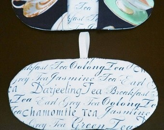 One Microwave Mitt - Fingertip Mitt - Mini Mitts - Microwave Pot Holder - Tea Themed - Gift under 10