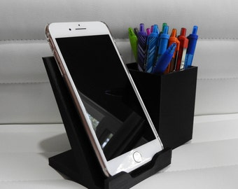 Phone Stand with Pen/Pencil Holder - 3D Printed Desk Organizer / Office Desk Caddy