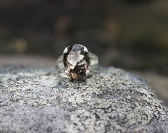 Smoky quartz sterling silver ring