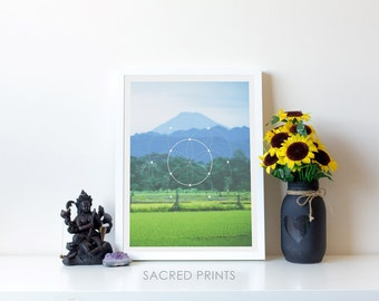 Mountain Scene Digital Print, Mountain Poster, Green Field Print, 11x14 Printable Symbols, Round Sacred Symbol, Nature Gifts, Simple Gifts