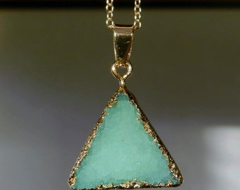 Geode Stone Green Triangle Druzy Pendant Necklace