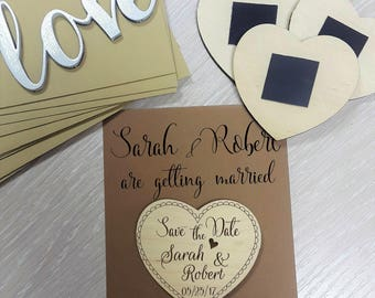 Save the Date magnets 10 pieces  Wooden Engraved Heart Wood Save the Date Rustic  Save the Date   With  Back Card and Envelopes