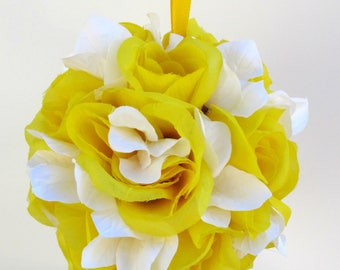 Wedding flower ball, Flower girl pomander, Yellow kissing ball, Wedding decorations, Yellow and white