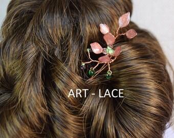 Rose gold hair accessories for women copper hair clip Flower hair clip gold art deco hair accessories Flower girl hair Bridesmaid wedding